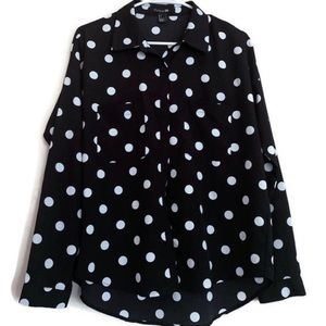 Forever 21 black and white polka dot button up top